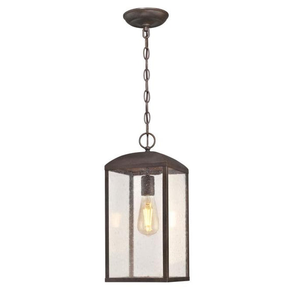Westinghouse 6374300 One Light Pendant, Victorian Bronze Finish, Clear Seeded Glass