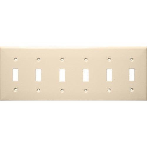 Morris Products 81063 Lexan Wall Plates 6 Gang Toggle Switch Almond - Large 6 Gang Wall Plate Toggle Switch for big rooms.