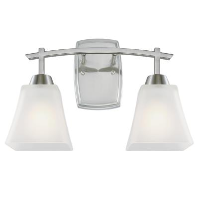 Westinghouse 6573500 Two Light Wall Fixture - Brushed Nickel Finish - Frosted Glass