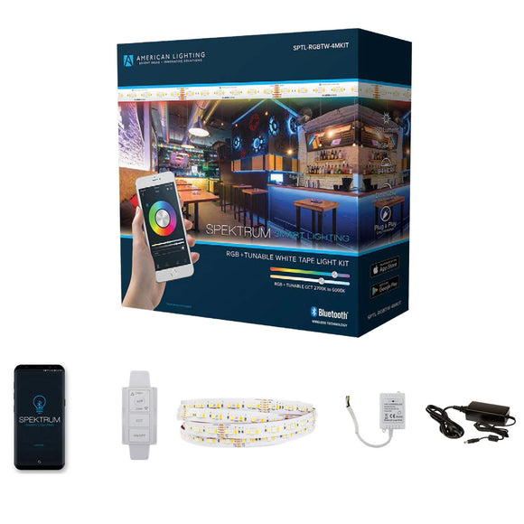 American Lighting SPTL-RGBTW-4MKIT - Bluetooth LED Tape Light Kit - SPECTRUM - RGB+Tunable CCT
