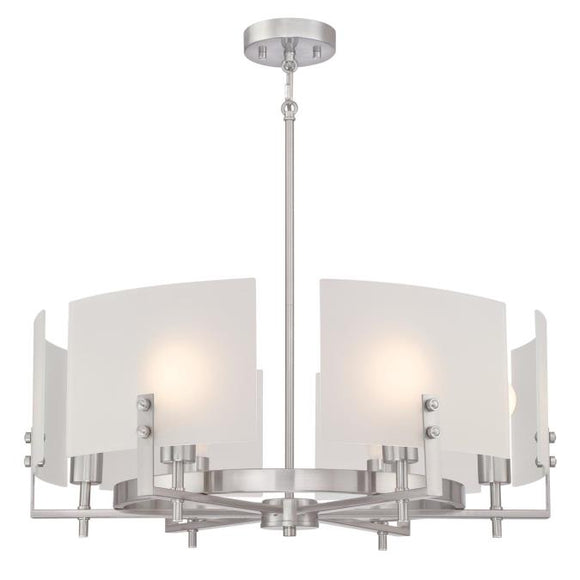 Westinghouse 6369400 Six Light Chandelier, Brushed Nickel Finish, Frosted Glass