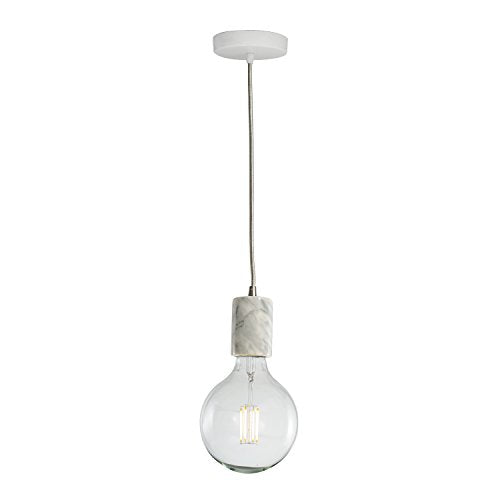Bulbrite 810105 NATURAL MARBLE WHITE PENDANT W/ 7 Watt LED G40 2700 Kelvin FILAMENT E26 FULLY COMPATIBLE DIMMING , E26-Medium Base 120 Volt