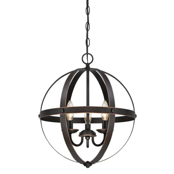 Westinghouse 6341800 3 Light Pendant Oil Rubbed Bronze Finish with Highlights
