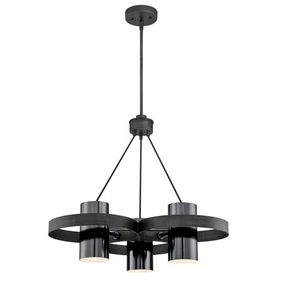 Westinghouse 6369000 Three Light Chandelier, Distressed Aluminum Finish, Gun Metal Shades