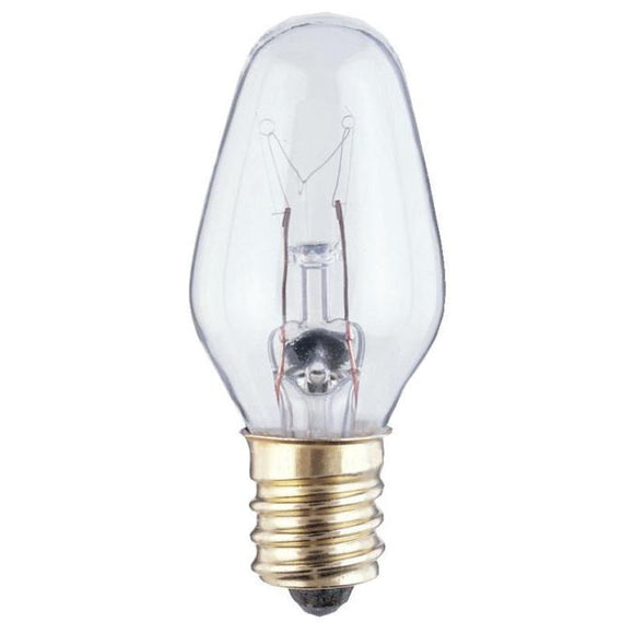 Westinghouse 0379100 7 Watt Incandescent C7 Specialty Clear - 2700 Kelvin - Warm White - 45 Lumens - E12-Candelabra Base - 120 Volt - Card - 2-Pack