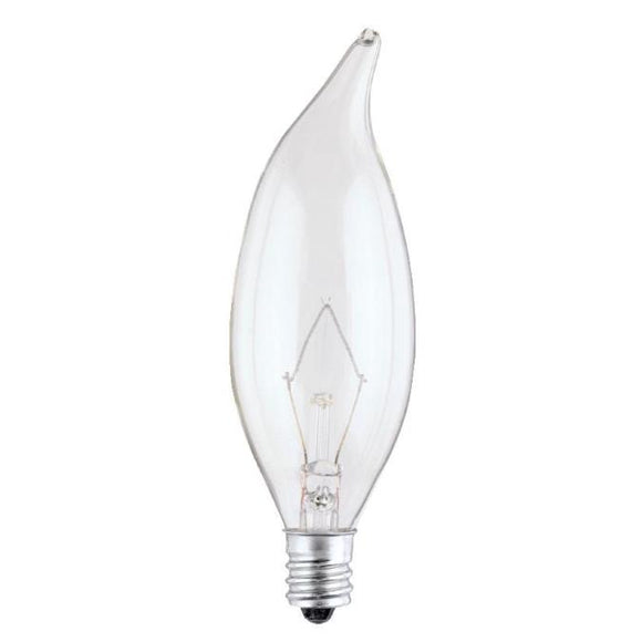 Westinghouse 0327500 40 Watt Incandescent CA9 1/2 Decorative Flame Tip Clear - 2700 Kelvin - Warm White - 365 Lumens - E12-Candelabra Base - 120 Volt - Box
