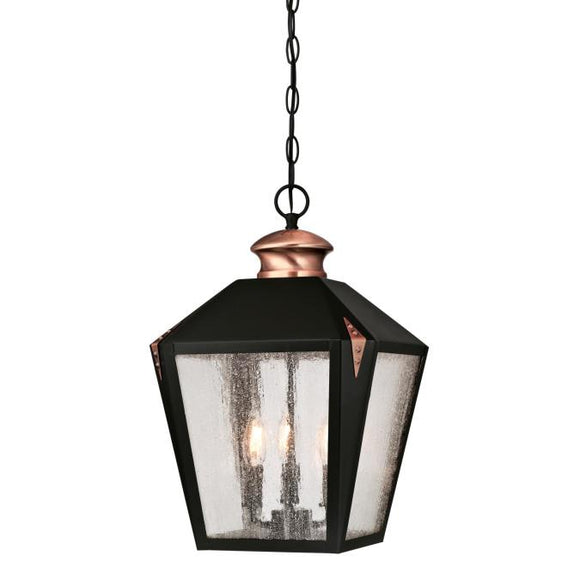 Westinghouse 6339100 Three Light Pendant - Matte Black Finish with Washed Copper Accents - Clear Seeded Glass