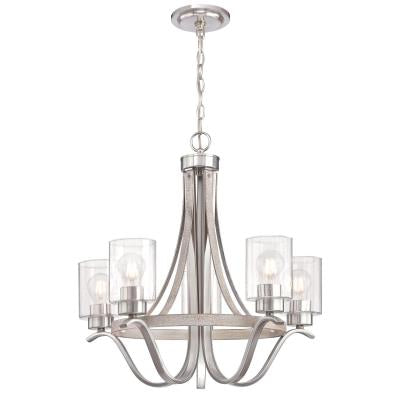 Westinghouse 6576900 Five Light Chandelier, Antique Ash and Brushed Nickel Finish, Clear Seeded Glass