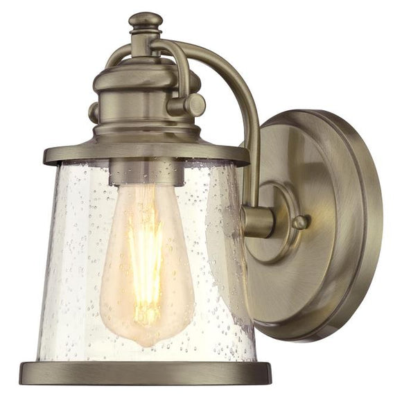 Westinghouse 6374500 One Light Wall Fixture Lantern - Antique Brass Finish - Clear Seeded Glass