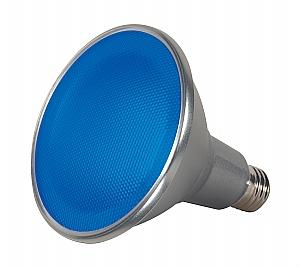 Satco S9482 15 Watt LED PAR38, 40 Degree Beam Spread, Blue, E26-Medium Base, 120 Volt, Dimmable, 25000 Average Rated Hours