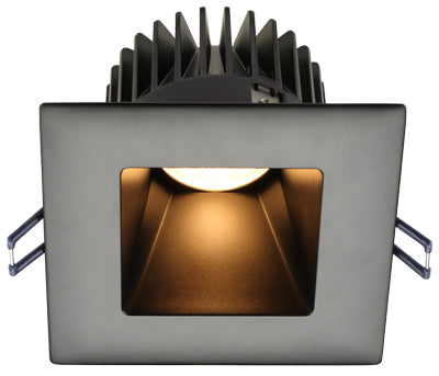 Lotus LED Lights - 4 Inch Square Deep Regressed LED Downlight - 3000 Kelvin - Black Reflector - Black Trim