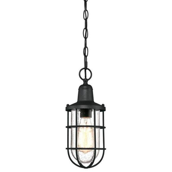 Westinghouse 6334800 One Light Pendant, Textured Black Finish, Clear Seeded Glass