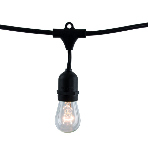 Bulbrite 810002 String Light - Black - Bulbs Included:  11 Watt S14 Clear Incandescent (15 pcs) E26-Medium Base 120 Volt