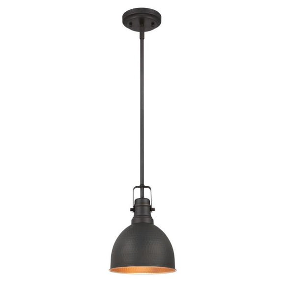 Westinghouse 6345600 1 Light Mini Pendant Hammered Oil Rubbed Bronze Finish with Highlights