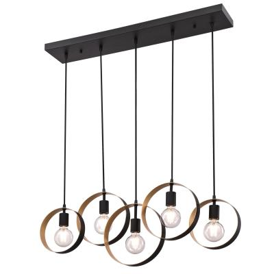 Westinghouse 6575700 Five Light Chandelier, Matte Black Finish with Textured Gold Accents