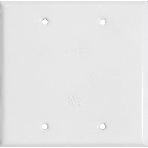 Morris Products 37262 Two Gang Blank Cover White