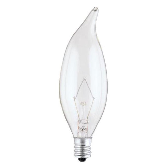 Westinghouse 0367500 40 Watt Incandescent CA9 1/2 Decorative Flame Tip Clear - 2700 Kelvin - Warm White - 330 Lumens - E12-Candelabra Base - 130 Volt - Box