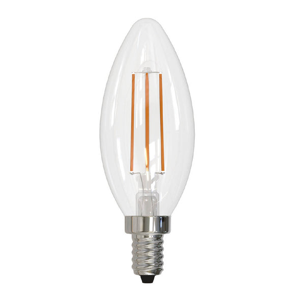 Bulbrite 776656 4.5 Watt LED B11 FILAMENT, E12-Candelabra Base, 2700 Kelvin, Warm White, Clear, 350 Lumens, 120 Volt, 40 Watt Incandescent Equivalent, FULLY COMPATIBLE DIMMING
