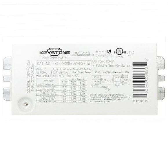 Keystone KTEB-218-UV-PS-DW - (2) Lamp Fluorescent Ballast