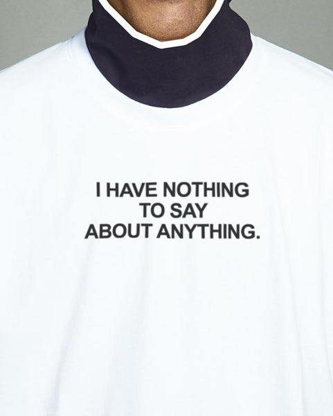 "Tshirt Giovanni Vernia, ""I've nothing to say"" collaboration with MONEO - detail"