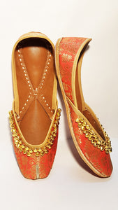 Orange Ladies Embroidered Mojari