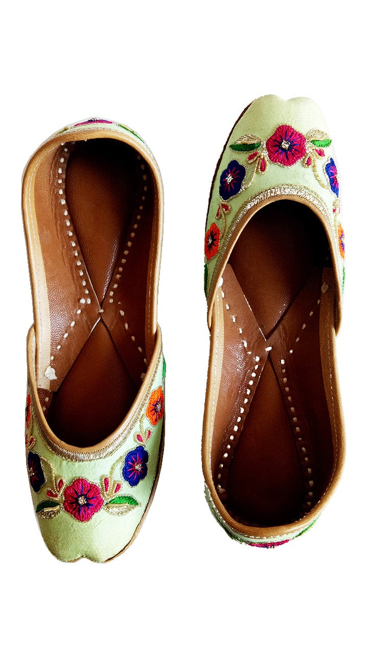 Light Green Ladies Embroidered Mojari