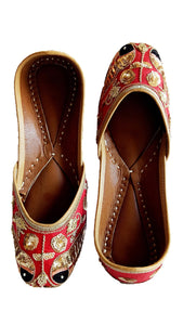 Red Ladies Embroidered Mojari