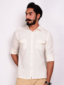 Off White Linen Hunting Shirt