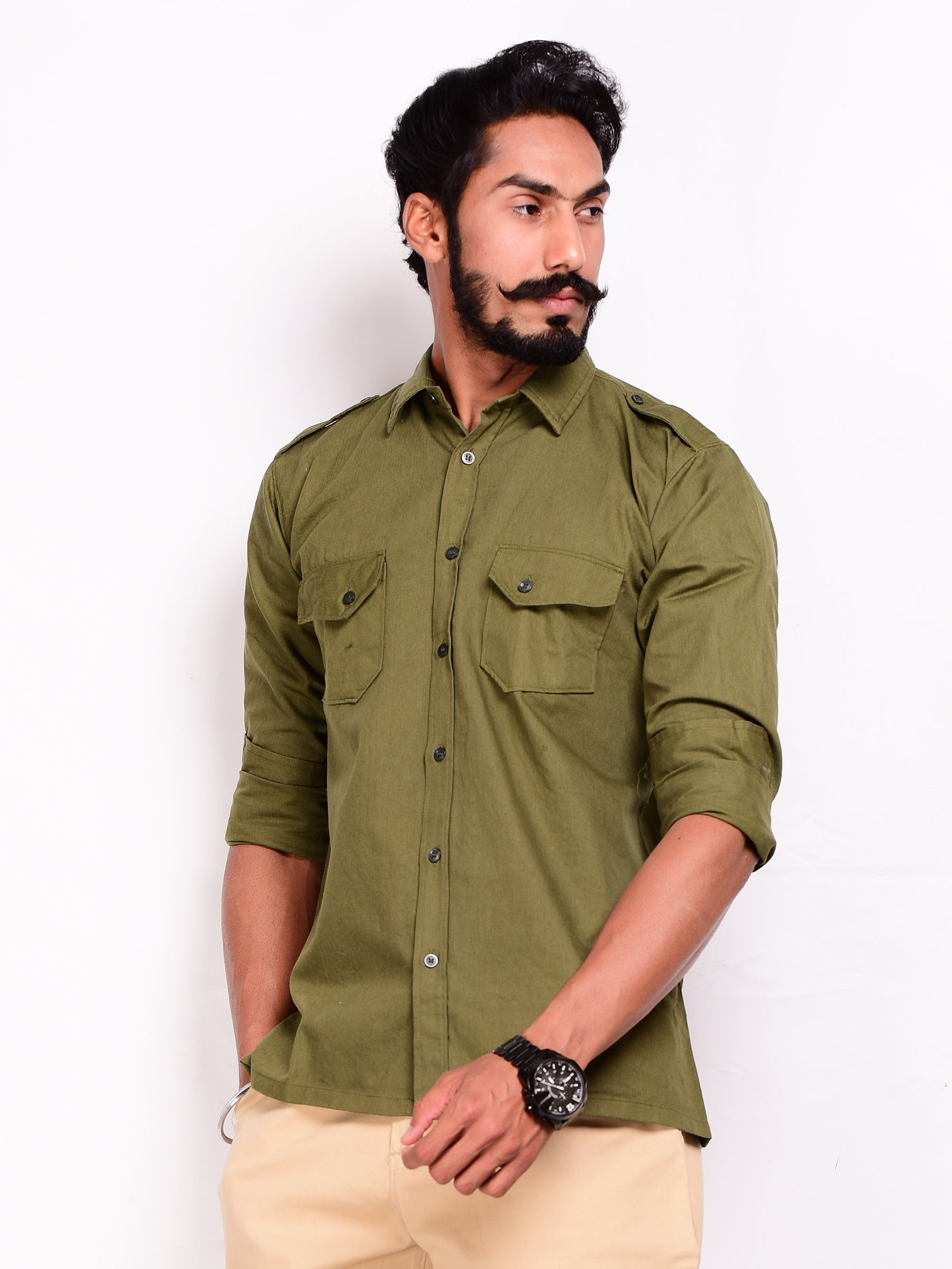 Olive Green Herringbone Hunting Shirt