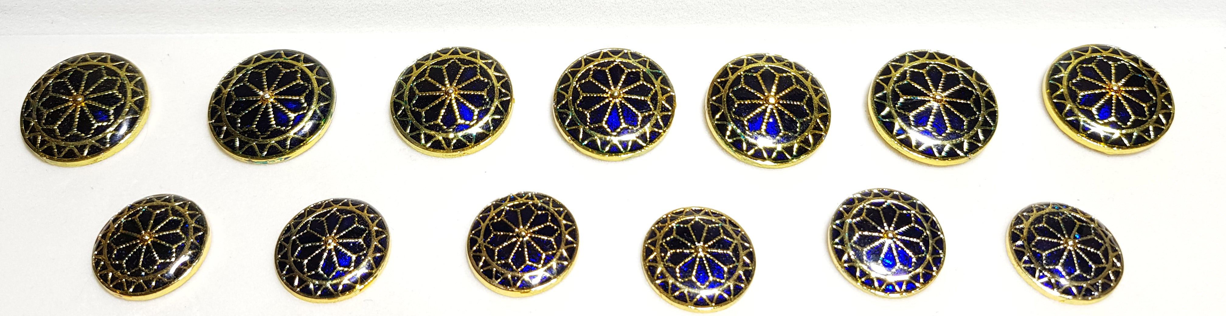 Blue Enamel Golden Radiation Buttons