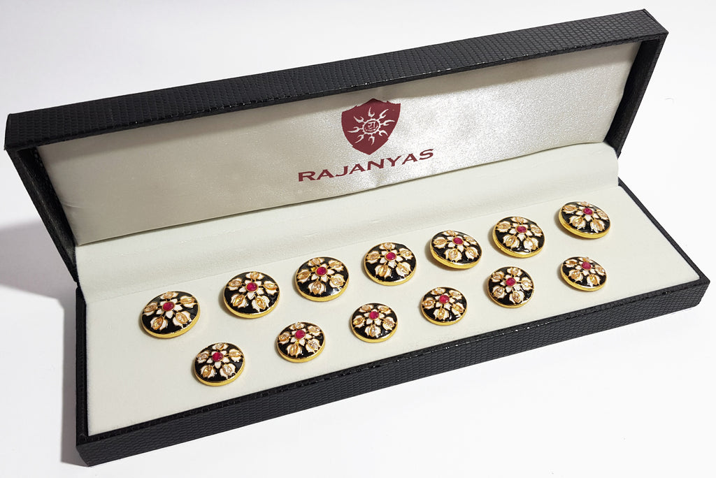 White Lotus Enamel Buttons with Red Stone