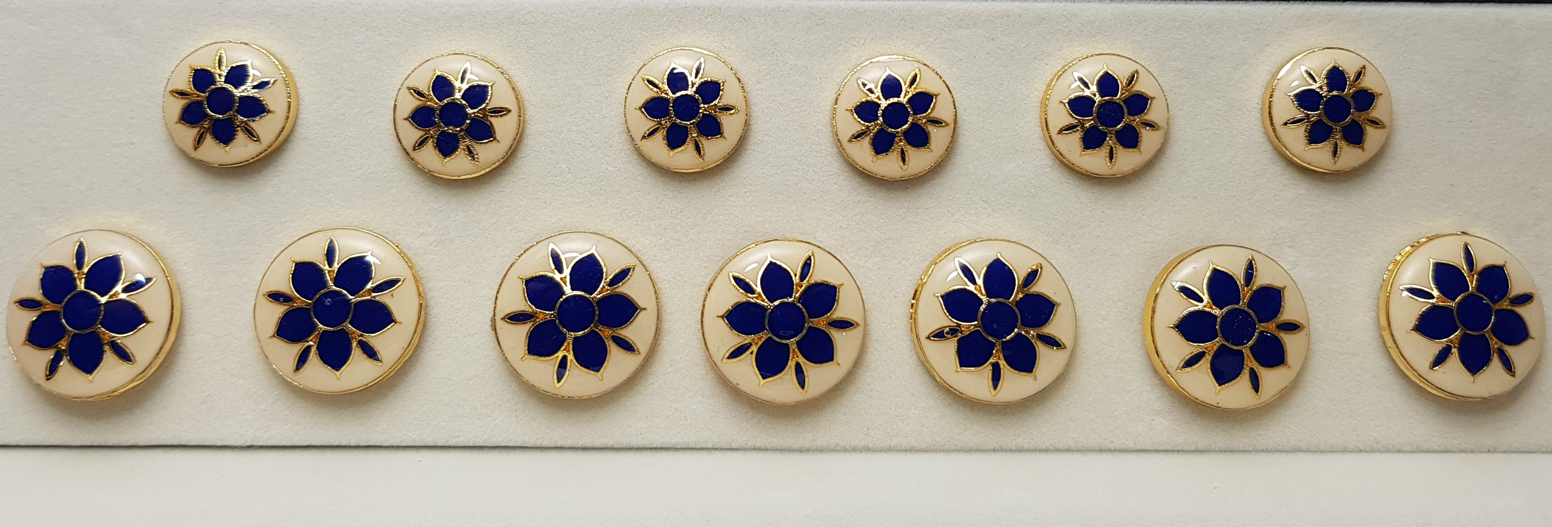 Blue-White Mugal Flower Meenakari-work Buttons