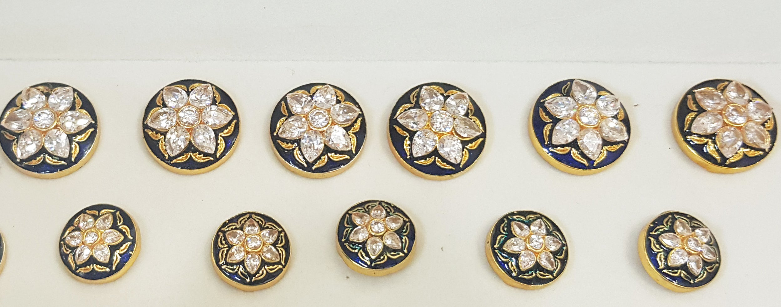 White Stone Flower Buttons with Blue Enamel