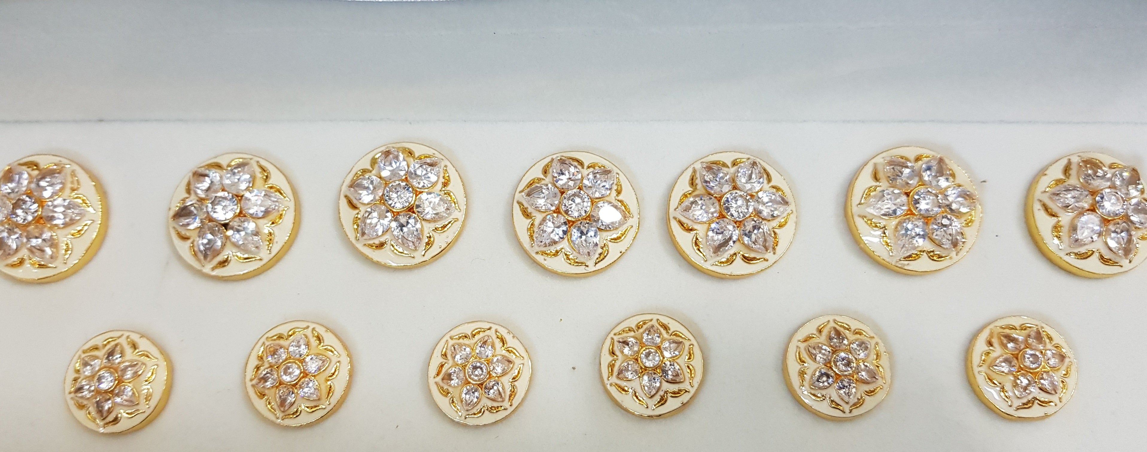 White Stone Flower Buttons with Off-White Enamel