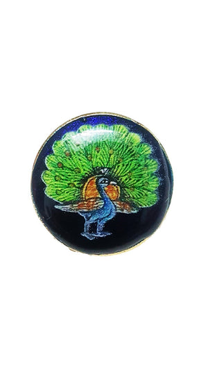 Designer Hand Painted Buttons: Peacock II