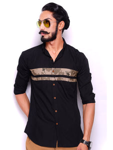 Black Casual Shirt with Camo Stripes