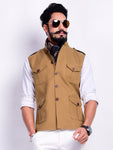 Khakhi Brown Colour Semi Hunting Jacket
