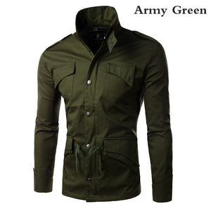 Men's Military Style Stand Collar Winter Jacket