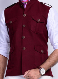 Four Pocket Maroon Semi Hunting Jacket