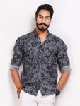 Charcoal Grey Shirt with All Over Print