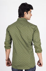 Green Colour Printed Shirt