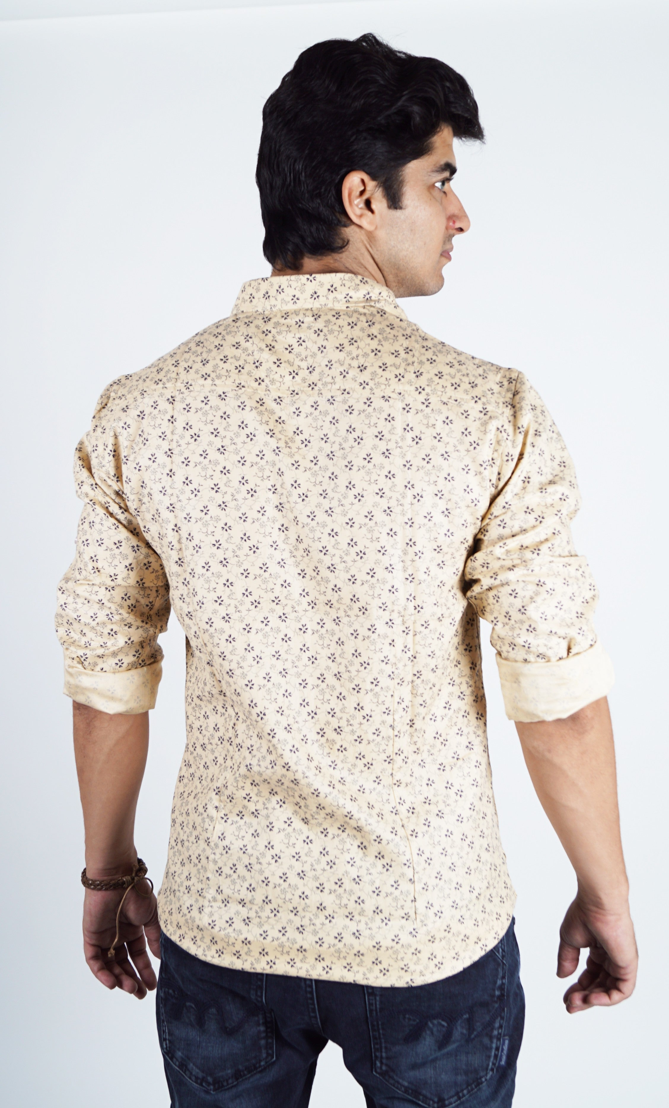 Yellow Colour Printed Casual Shirt