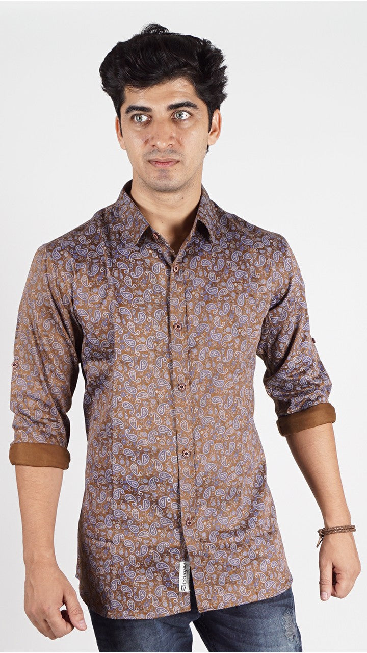 Brown Colour Kaju Printed Shirt