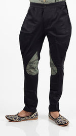 Black Breeches with Green Camouflage Patch