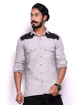 Light Grey Hunting Shirt with Black Patch