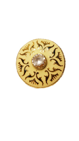 Cream Color Meenakari button With stone