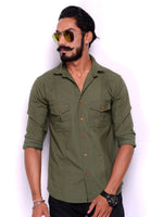 Moss Green Colour Semi-Hunter Shirt