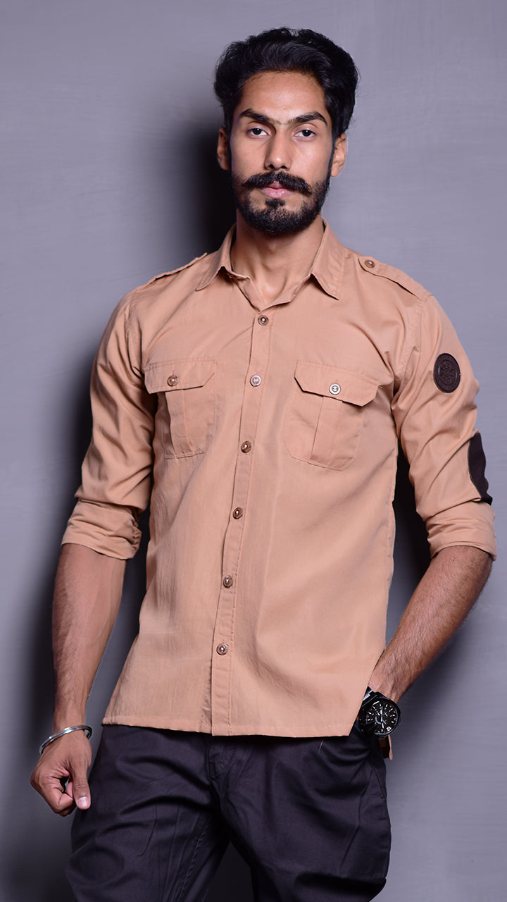 Desert Tan Hunting Shirt with Patch