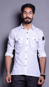 White Hunting Shirt with Patch