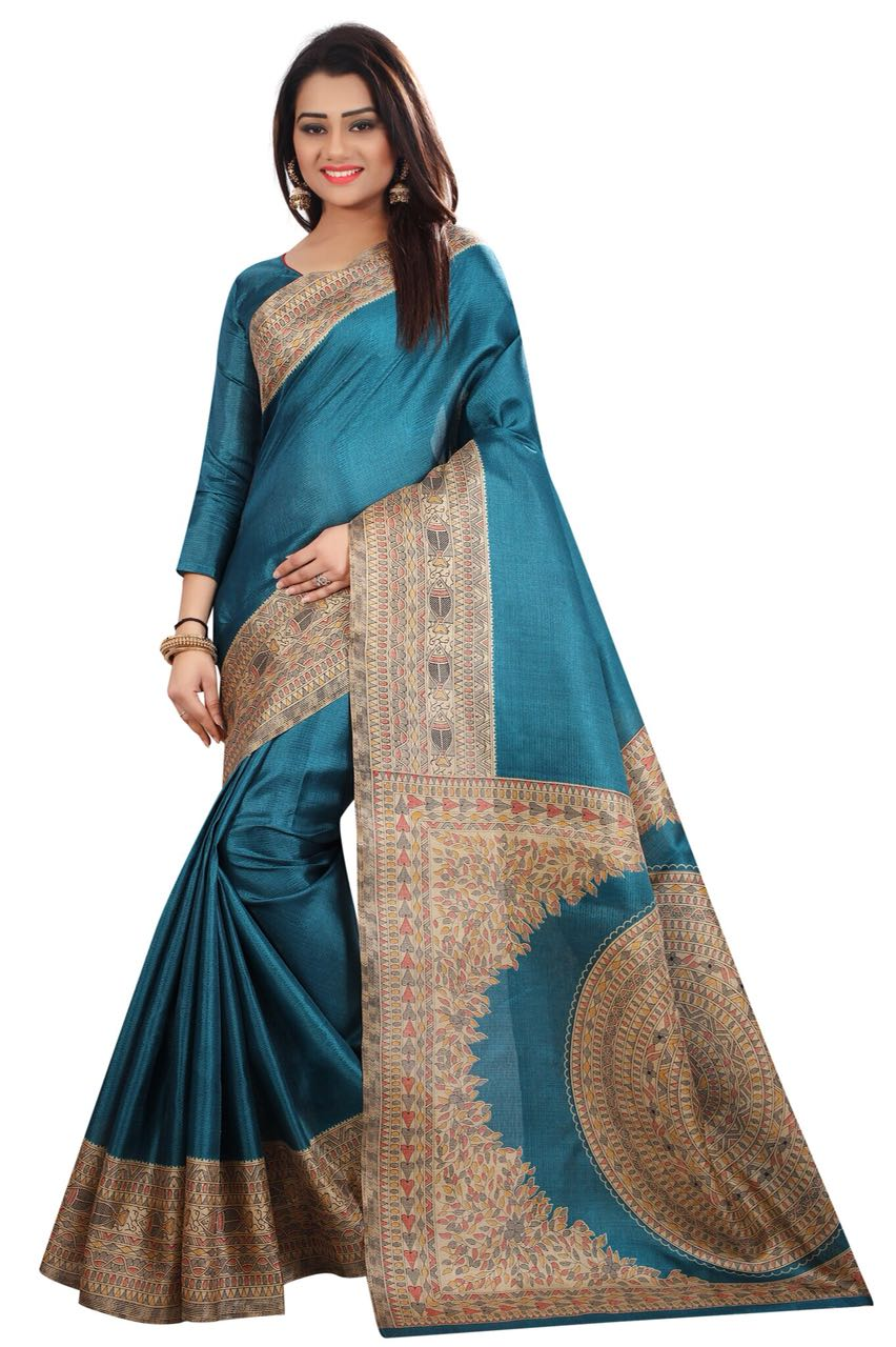 Kalamkari Rama Colour Saree K019